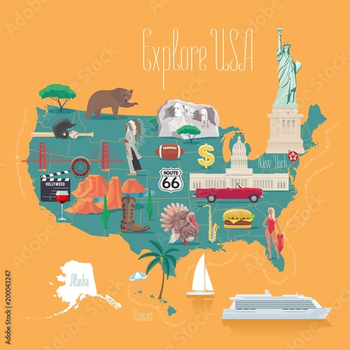 Map of USA vector illustration, design Canvas Print