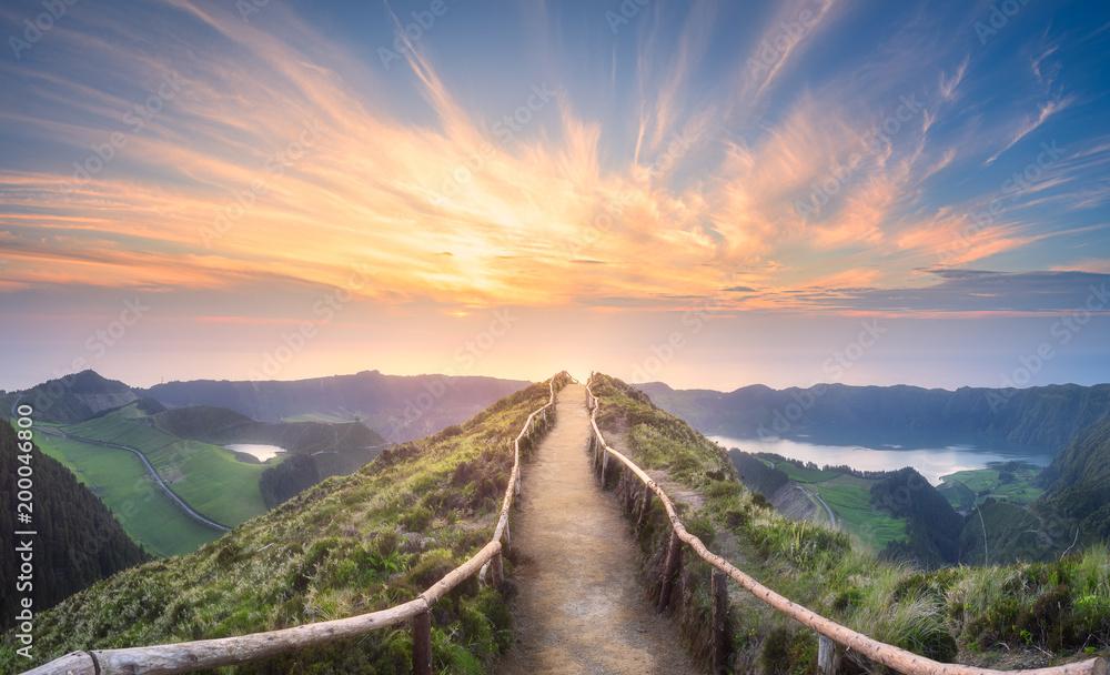 Fototapeta Mountain landscape Ponta Delgada island, Azores