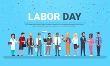 Labor Day Poster With People O...