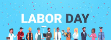 Labor Day Poster With People Of Different Occupations Over Blue Background Flat Vector Illustration