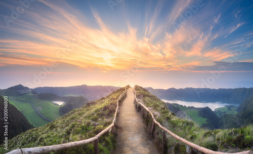 Photo sur Toile Morning Glory Mountain landscape Ponta Delgada island, Azores