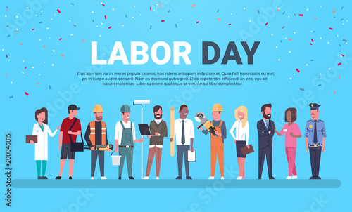 Labor Day Poster With People Of Different Occupations Over Background With Copy Fototapet