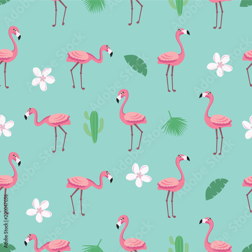 Foto op Plexiglas Flamingo vogel Flamingo pattern - trendy seamless pattern in flat style with flamingos, tropical flowers, leaves and cactus. Vector illustration design template