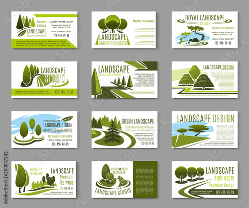 In de dag Donkergrijs Landscape design studio business card template