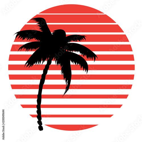 Retro striped sun and palm © AnnaPa