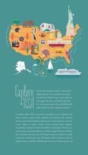 Map Of USA Vector Illustration, Design