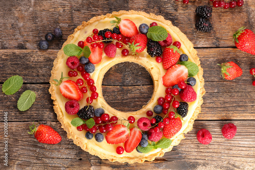 fruit tart with cream Canvas Print