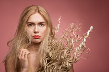 Portrait Of Depressed Woman With Damaged Locks Looking At Camera While Holding Dry Grass Bunch. Isolated On Rose Background