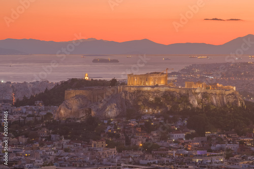 Garden Poster Napels The view to Acropolis and Aegean sea in Athens