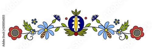 Traditional, modern Polish - Kashubian floral folk decoration vector - wzór kaszubski, haft kaszubski, wzory kaszubskie - fototapety na wymiar