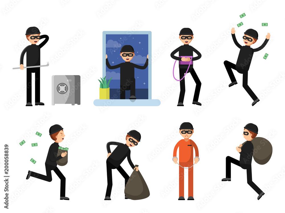 Fototapeta Set of criminal characters isolate on white