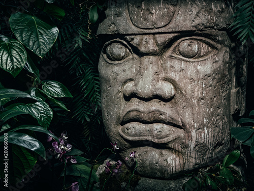 Photo sur Toile Commemoratif Olmec sculpture carved from stone. Big stone head statue in a jungle
