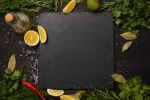 Black Slate Board With Fresh H...