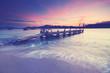 romantischer Sonnenuntergang am Steg