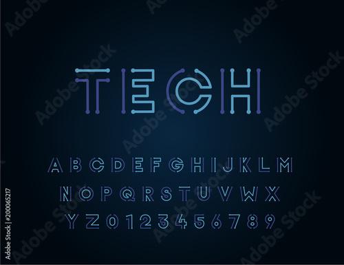 Obraz na plátně Tech vector font typeface unique design
