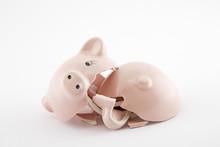 Broken Piggy Bank On White Bac...