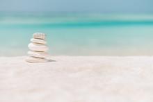 Zen Stones On Relaxing Beach B...