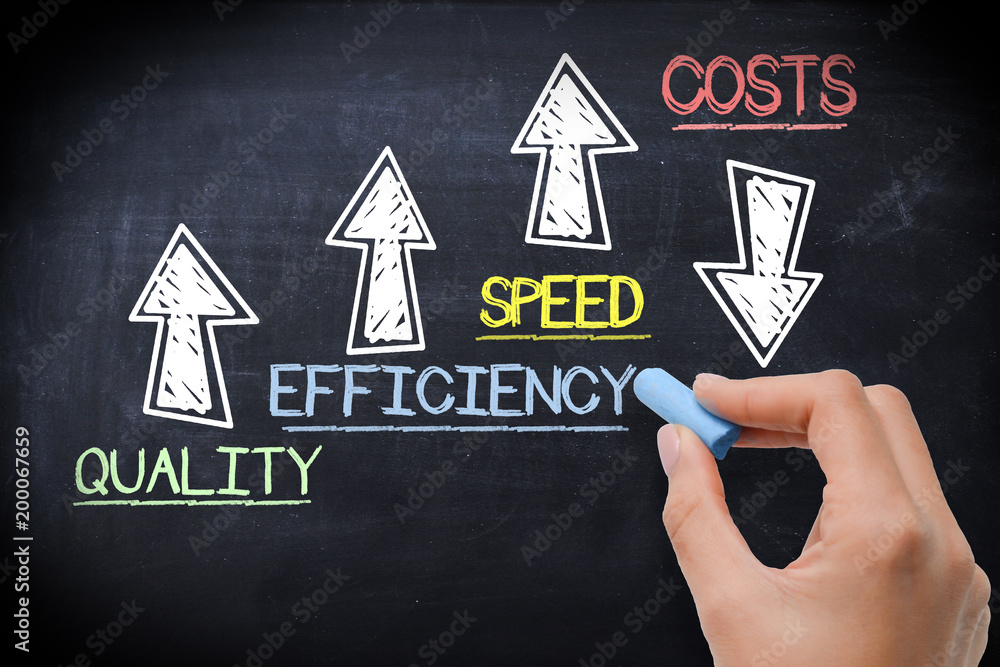 Fototapeta Boost business performance by increase quality, efficiency and speed and save costs