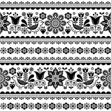 Skandynawski bezszwowy wektoru wzór z kwiatami i ptakami, Nordic ludowej sztuki powtórkowy czarny i biały ornament - 200067673