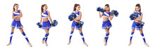 Young Cheerleader In Blue And ...