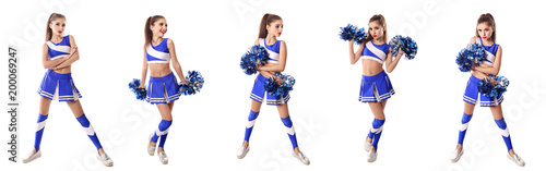 Fotomural Young cheerleader in blue and white suit with pompoms on white b