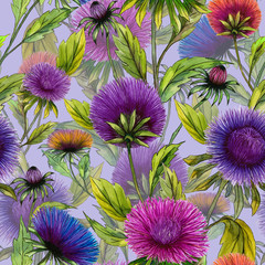 Panel SzklanyBeautiful aster flowers in different bright colors with green leaves on light lilac background. Seamless floral pattern. Watercolor painting. Hand drawn illustration.