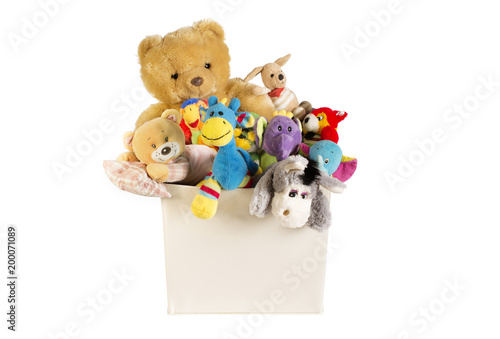 Canvas Prints Bears Collection of plush toys in white toys box