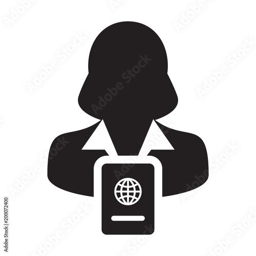 Passport Icon Vector With Female Person Profile Avatar Symbol For