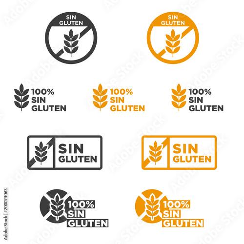 Gluten free icon set  Written in Spanish  Vector