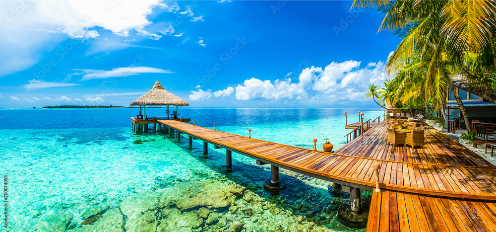 Fototapety, obrazy: Maldives beach resort panoramic landscape