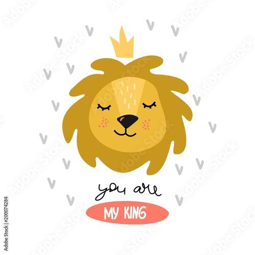 """Śliczny lew kreskówki i napis """"Jesteś moim królem"""". Pozytywna ilustracja dla dzieci."""
