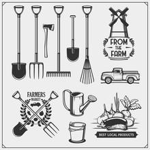 Vector Set Of Farm And Garden Tools. Farmers Market Emblems.
