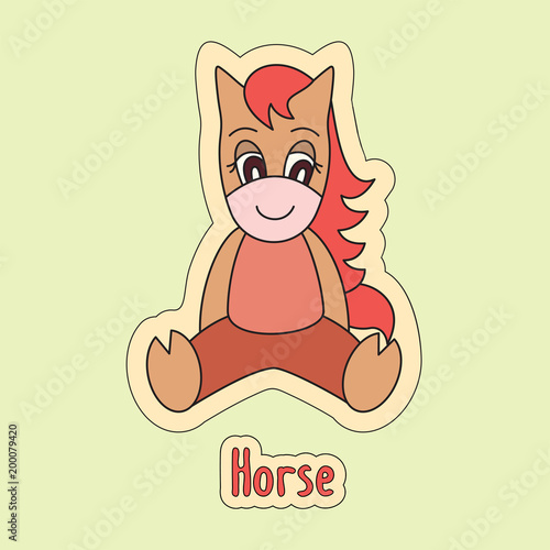 Poster  Horse, cartoon mare, cute pony, symbol of the Chinese horoscope 2026 year