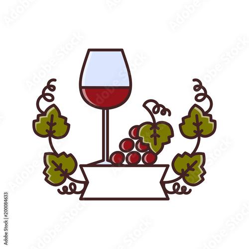 Fotografía  Wine tasting is a laconic emblem in a linear flat style