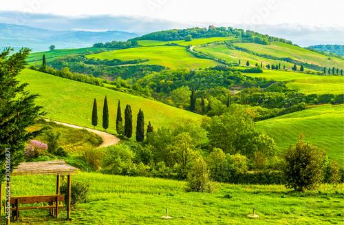 In de dag Lime groen Mountain green hills panoramic landscape