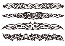 Tattoo Tribal Design Art Set, Vector Illustration