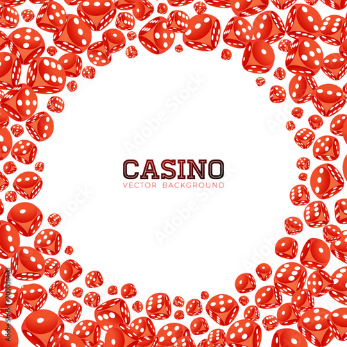 Casino illustration with floating dices on white background плакат