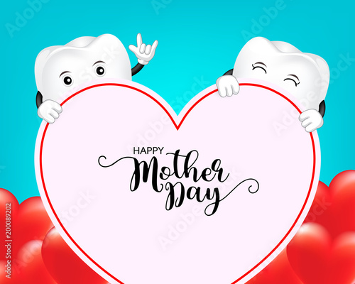 Cute Cartoon Tooth Character With Heart Shape Mother Day Banner