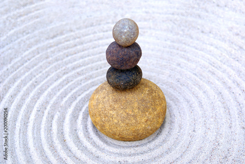 Tuinposter Stenen in het Zand zen, stone, sand, balance, rock, stones, meditation, spa, harmony, zen garden, pebble, garden, relaxation, spirituality, natural, massage, feng shui, mineral, abstract, simplicity, peace, concentratio