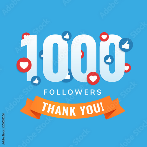 Fotografie, Obraz  1000 followers, social sites post, greeting card vector illustration
