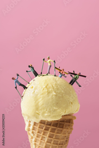 miniature skier on an ice cream.