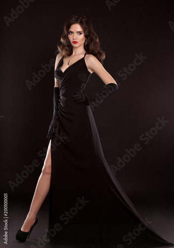 Elegant Lady In Black Dress Fashion Studio Photo Of Gorgeous Woman