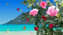 Azure Coast With Rose Bushes A...