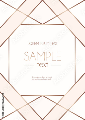 Valokuva  Geometric rose gold design template with blush pink and white abstract shapes