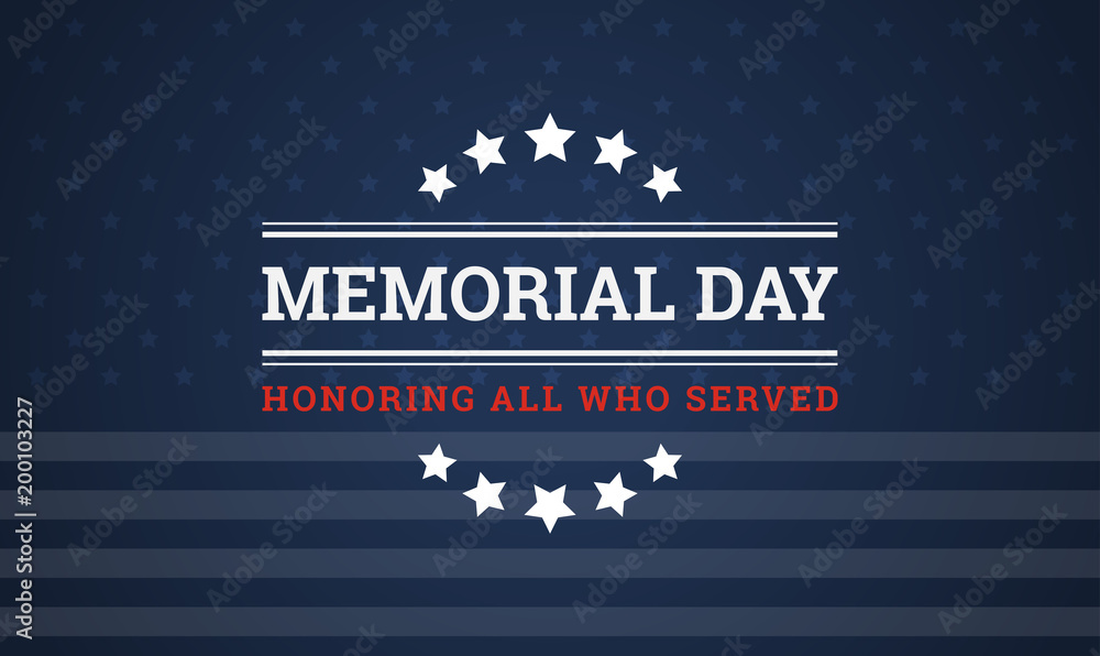 Fototapety, obrazy: Memorial Day background - Honoring all who served banner vector illustration
