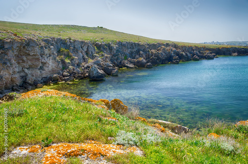 Papiers peints Bleu jean Beautiful scenery, the bay of the Kazantip Nature Reserve on the Sea of Azov