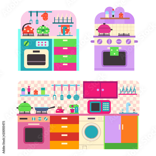Toy Kitchen Set With Utensil And Household Appliances For Children