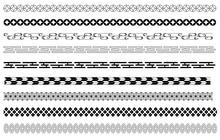 和柄の飾り線 白黒