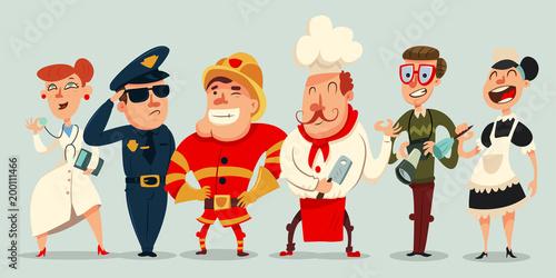 Fotografía  Different professions vector cartoon set