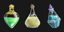 Set Of Three Potion Bottles